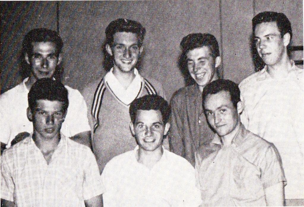 Von links nach rechts: W. Ahls, T. van Ravenstein, H. Ahls, K. H. Kusenberg, T. Seeger, W. Romboy, W. Ternierssen
